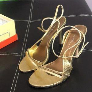 Gold strapy heel